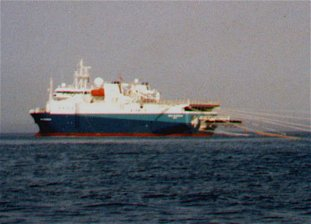 Seismic surveys are conducted using vessels towing air gun arrays.
