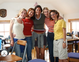 The Gals posing in the office, July 2006