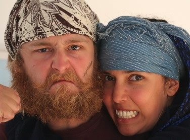 Gary and Xann in pirate mode before chopping off the beard