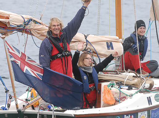 Mike Brooke and team join us in Gardenstown during their round-UK fundraising sailing trip for Theos Future